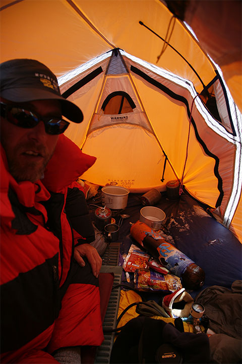 In a Mountain Hardwear EV3 single skin tent perfect for the wind up there. Radio top right stove inside bottom right oxygen regulator. & Project Himalaya | 2007 Everest Expedition dispatches