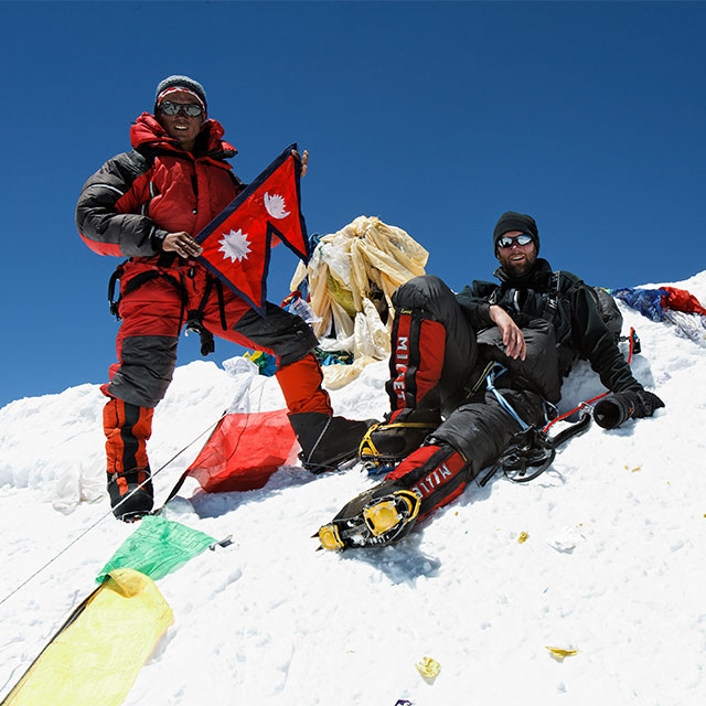 Pasang Gombu and Andy Falgate on Everest summit