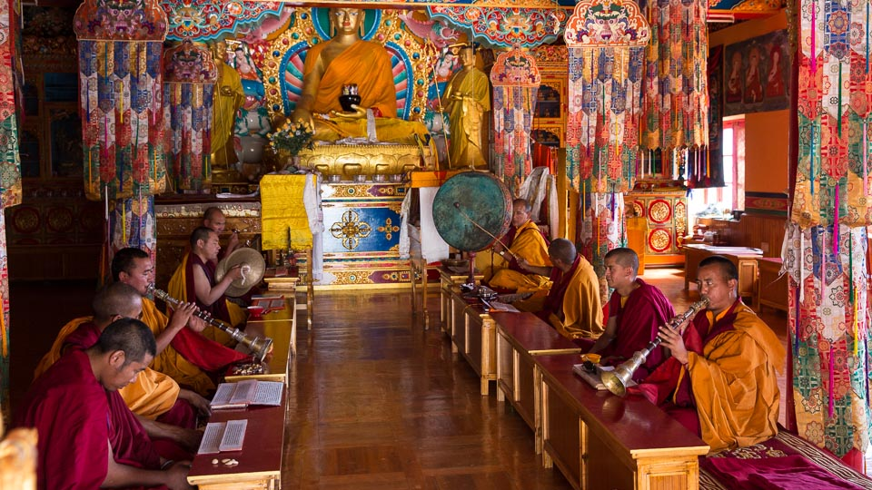 Prayer time at Matho Gompa